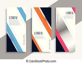 vertical, modernos, bandeiras, espaço, texto, negócio