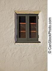 vertical, mur, fenêtre, bois, vert, stuc