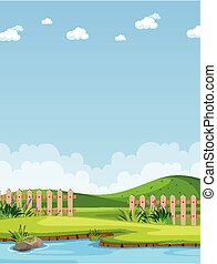 Vertical nature scene or landscape countryside with part of farm view and blank sky at daytime