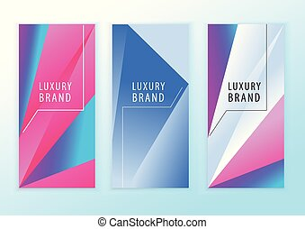 Vertical neon blue pink banners. Triangle design elements. Abstract background