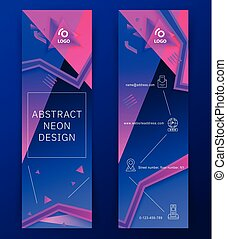 Vertical neon blue pink banners. Triangle design elements, thin icons. Abstract background