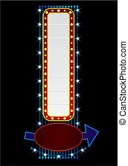Vertical neon - Neon with direction sign template isolated...