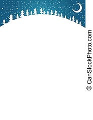 Vertical New Year card with copy space. Christmas white background for your design. Simple flat forest landscape with moon and snow. Vector illustration.