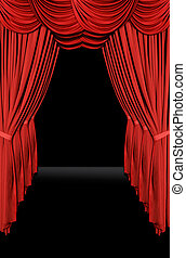 Vertical old fashioned elegant theater stage with velvet curtains leading upstage in an arch