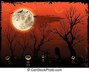 Vertical orange Halloween background with creepy tree