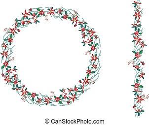 vertical, padrão, grinalda, isolado, poinsettia, redondo, white., brush., natal, infinito