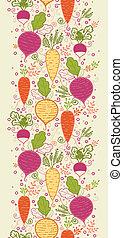 vertical, padrão, legumes, seamless, fundo, raiz, borda
