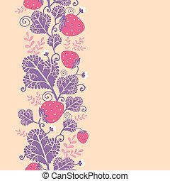 vertical, padrão, seamless, morangos, fundo, borda