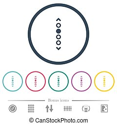 Vertical page navigation flat color icons in round outlines