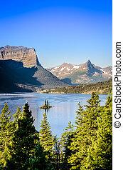 vertical, paisagem, vista, de, alcance montanha, em, geleira np, eua