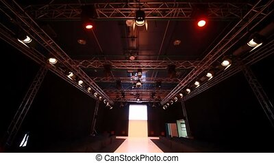 vertical panning of empty fashion model podium
