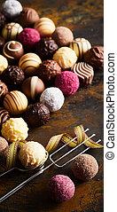 Vertical panorama banner of luxury chocolates