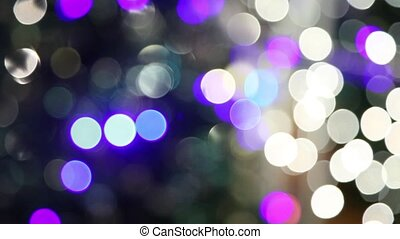 vertical panorama of the bokeh lights Christmas tree