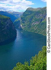 vertical, -, panoramique, fjord, geiranger, vue