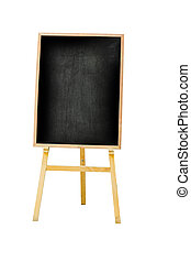 vertical photo of menu black board Isolated on white background, clipping path
