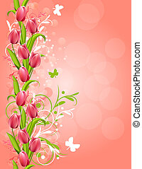 Vertical pink spring background with tulips and flourishes