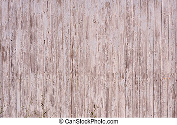 Vertical plank wall with flaked paint