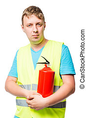 Vertical portrait of a man in a vest with a fire extinguisher on a white background