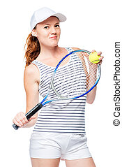 Vertical portrait of a professional tennis player on a white background