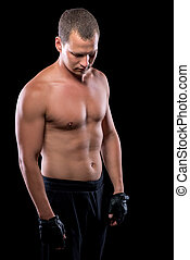vertical portrait sports male 30 years old with a naked torso