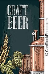 Vertical poster for craft beer. Tanks from brewery factory, hop, wheat. Vintage vector engraving illustration on dark background.