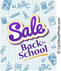 Vertical poster Sale back to school. Dynamic banner with...
