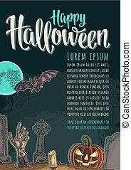 Vertical poster with Halloween Happy calligraphy lettering.