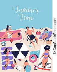 Vertical poster with sunbathing, chilling people on beach ...