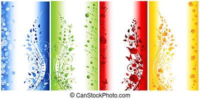 vertical, résumé, illustration, quatre saisons, bannières