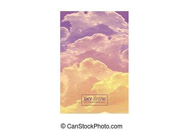 vertical, realístico, céu, violet-orange, vetorial, fundo