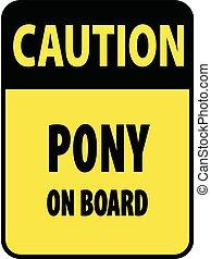 Vertical rectangular black and yellow warning sign of...