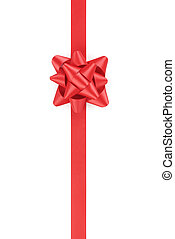 vertical red ribbon with gift bow isolated on white