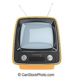 vertical retro television - frontal view of an orange retro...