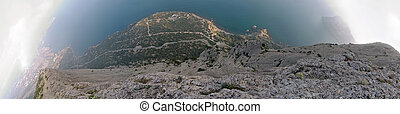 """Vertical rock world - Five shots 180 degrees panorama from """"..."""