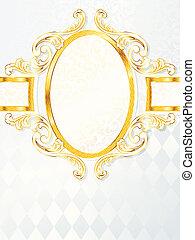 Vertical rococo wedding banner - Elegant white and gold...