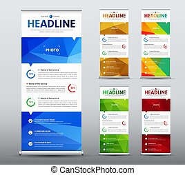 Vertical roll up banner desig  with abstract  blue elements