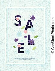 Vertical Sale card with frame and flowers