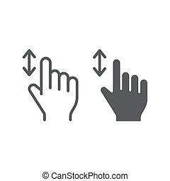 Vertical scroll line and glyph icon, finger and gesture, hand sign, vector graphics, a linear pattern on a white background.