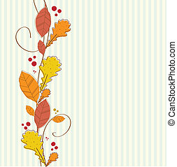 Vertical seamless border with autumn background. - Vertical...