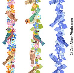 vertical, seamless, collection, joli, floral, frontières, oiseaux