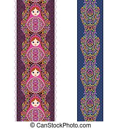 Vertical seamless lace pattern with nesting dolls . Vector set of 2. Burgundy and blue background. Use for embroidery, braid, tape, ribbon.