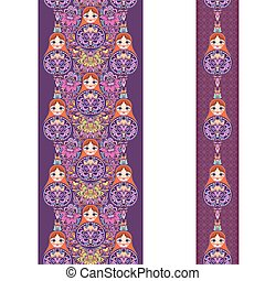 Vertical seamless lace pattern with nesting dolls . Vector set of 2. Burgundy and purple background. Use for embroidery, braid, tape, ribbon.