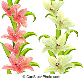 Vertical seamless patterns made of lilies on white ...