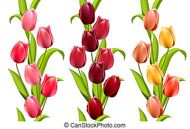 Vertical seamless patterns with tulips - Vertical seamless...