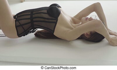 vertical, sexy, video., motion., lingerie., lent, girl