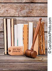 Vertical shot gavel and books.