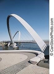 Queen Elizabeth Quay Bridge - Vertical shot of Queen...