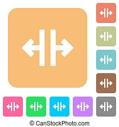 Vertical split tool rounded square flat icons