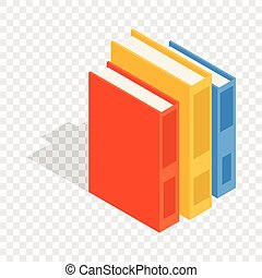 Vertical stack of colorful books isometric icon