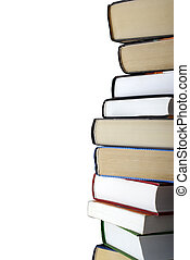 Vertical stack of different books isolated on white...
